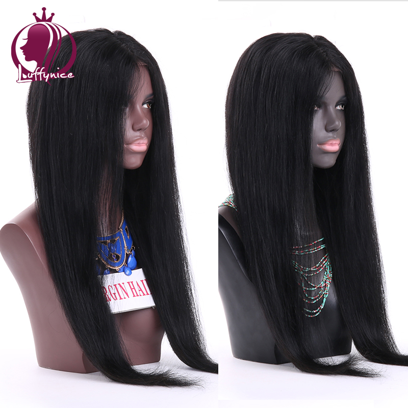 Brazilian middle part silky straight lace front wig cheap human hair long straight lace front wigs for african american women