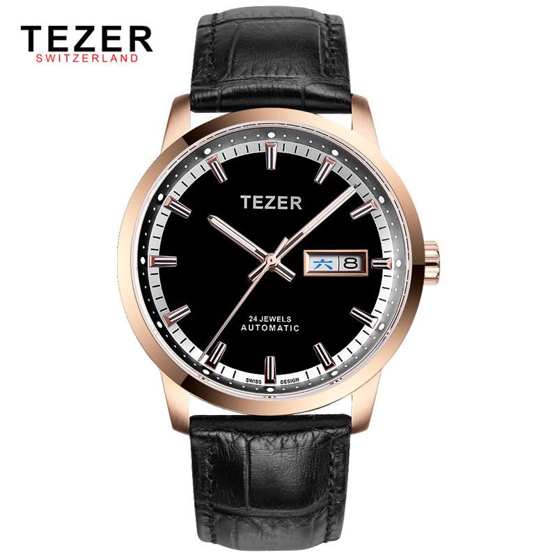 Известный Бренд TEZER Автоматические Self-wind Механические 50 М Водонепроницаемые Часы Для Мужчин Розового Золота мужские бизнес Наручные Часы Box