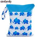 simfamily 1PC Reusable Waterproof Printed PUL Diaper Wet Bag Double Pocket Cloth Handle 28x36CM Wholesale