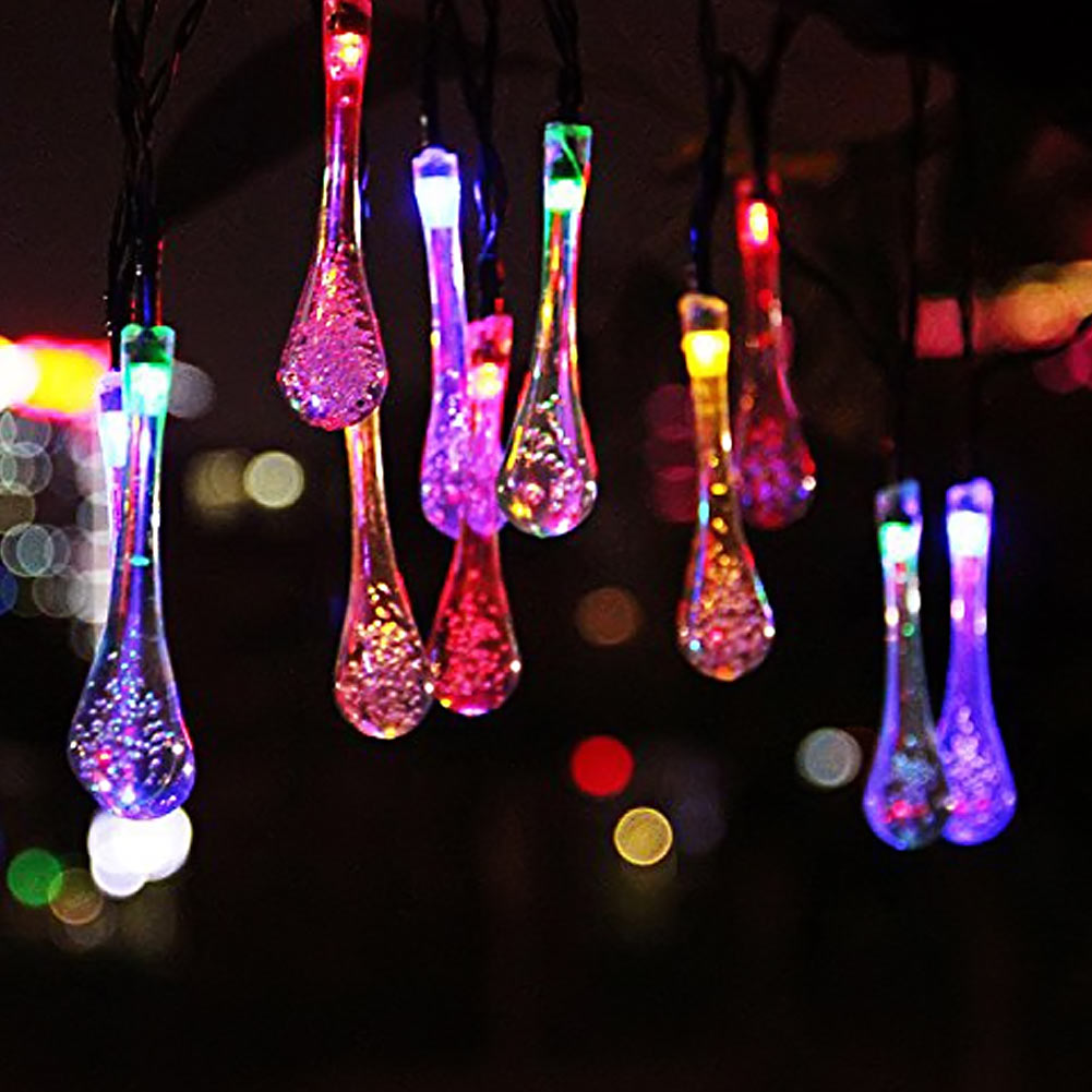 6m 30led Crystal Waterdrop Solar Powered String Lights LED fairy Lights for Wedding Christmas Party Outdoor Indoor Decoration(China (Mainland))