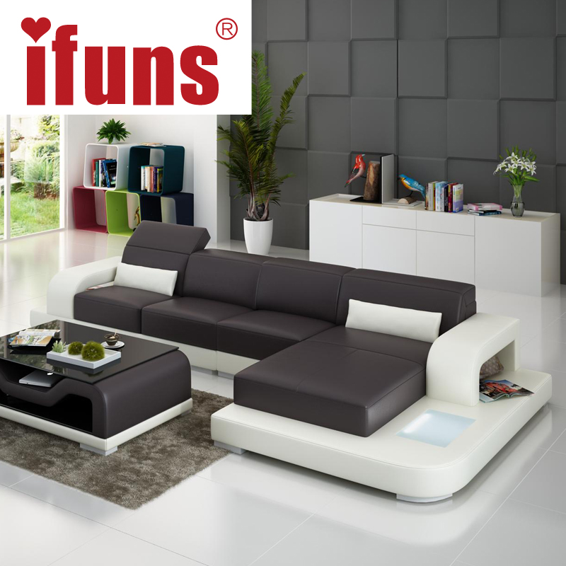 IFUNSmodern leather sectional sofa LED corner chesterfield l shape cow leather extra sofa set home furniture (fr)(China (Mainland))