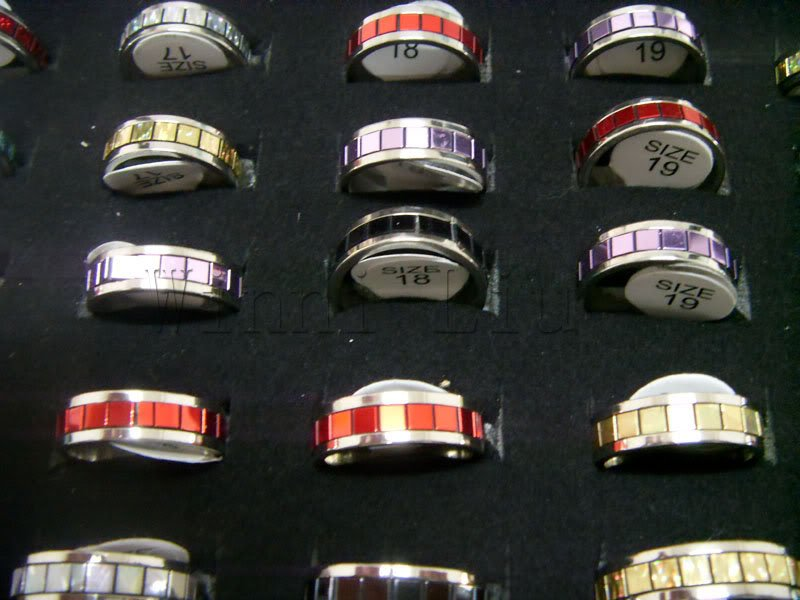 Free Shipping Wholesale Mix Job Lots 100pcs stainless steel colorful Sparking Men's rings jewelry Fashion Jewellery Ring(China (Mainland))