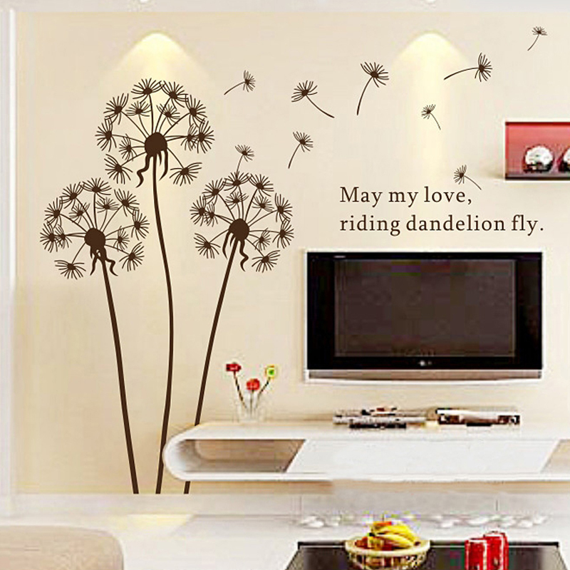 2015 hot sale dandelion wall sticker wall paper art home for Home decor items on sale