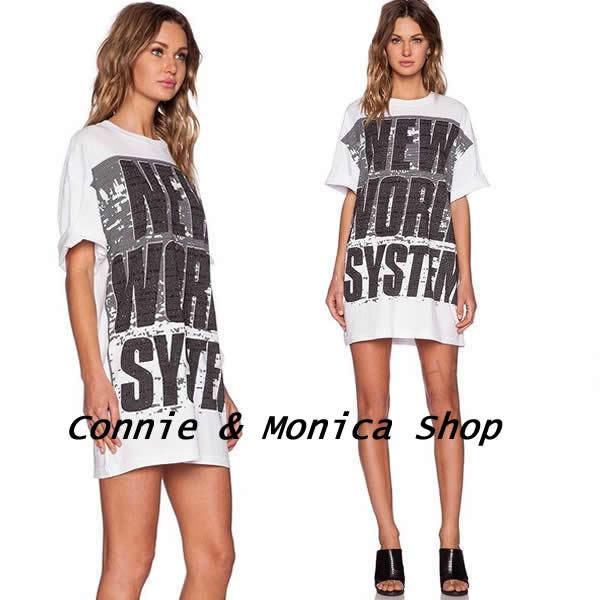 american apparel 2015 boyfriend t shirts plus size camisetas mujer harajuku long shirt print letter t-shirt women loose punk top(China (Mainland))