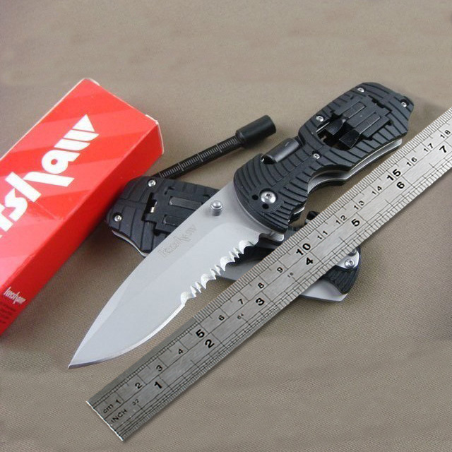 4 Screwdriver Knife KERSHAW 1920 Half Gear Serrated Tool Folding Knife With Rubber Handle Titanium Knife Tactical Survival Knife(China (Mainland))