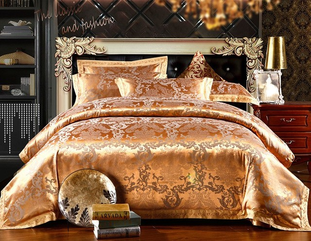 Spring Gold Bedding Sets New Arrival 4Pc Quilt Cover Unique Duvet Cover Set Queen/Bed Linen
