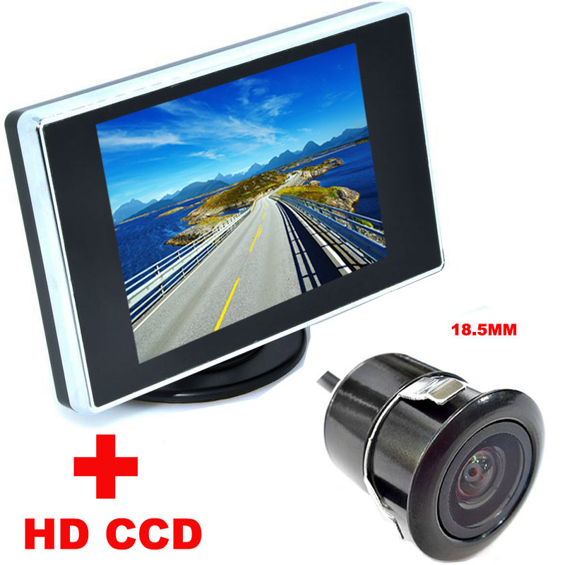 2 in 1 Auto Parking Assistance system 3.5 inch Color LCD Car Video Monitor + 18.5mm HD CCD Car Rear View Camera backup Camera(China (Mainland))