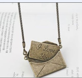 2013 New Arrival Free Shipping I LOVE YOU Envelope Necklace Pedant N86(China (Mainland))