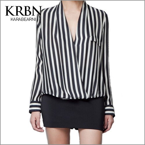 2015 brand women blouses striped blusa feminina casual Shirts women camisas femininas v-neck long Sleeve Tops solid blouse A1015(China (Mainland))