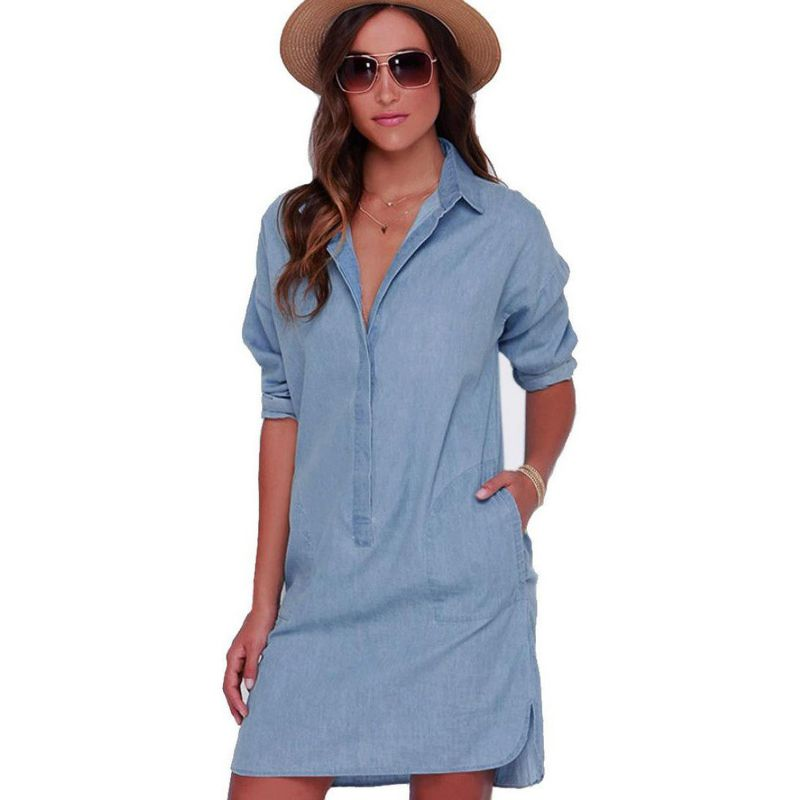 Fantastic Women Mill Long Sleeved Denim Dress Vintage Denim Dressin Dresses