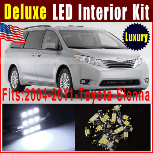 13pcs LED Light Bulb for Car Interior Package Kit 2004-2011 for Toyota Sienna T10 168 194 Festoon 31MM DE302 Xenon White LED ~A(China (Mainland))
