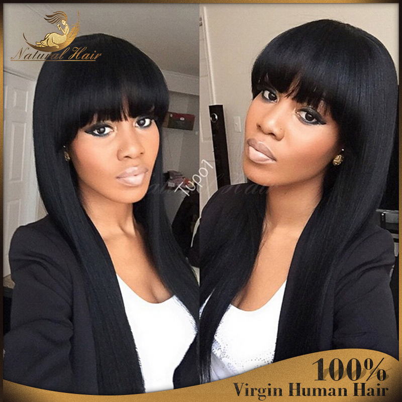 100% Real Glueless Brazilian straight Full Lace Human Hair Wig Full bangs Long Virgin Hair Lace wig with bangs For Black Women<br><br>Aliexpress