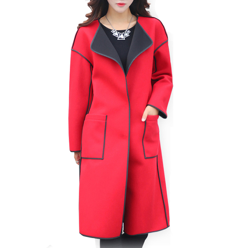 Manteau Femme Women Coat Autumn Winter Covered Button Turn-down Collar Patchwork Full Sleeve Coats Abrigos Mujer Jacket