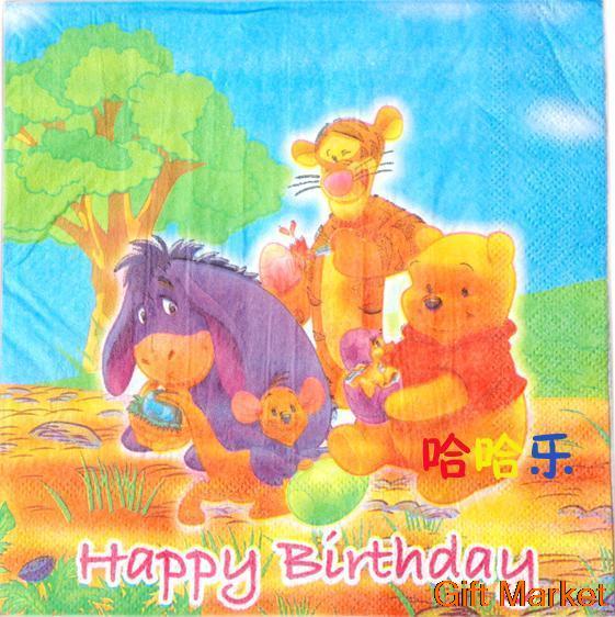20 pcs/lot novelty children's birthday supplies napkin party decoration cartoon little bear table napkin(China (Mainland))