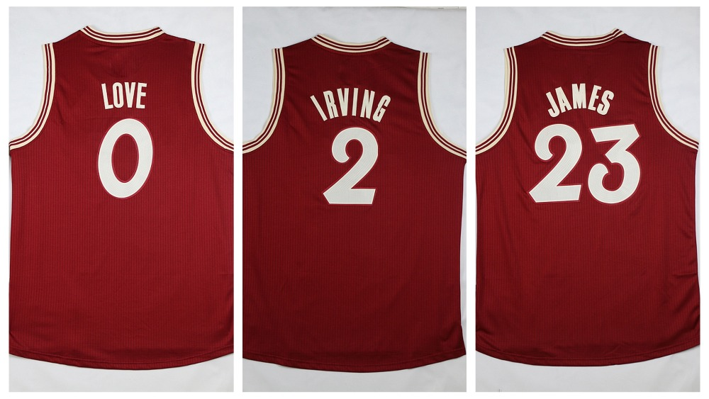Factory Price 2015 2016 Christmas Day Jerseys Mens 0 Kevin Love 2 Kyrie Irving 23 LeBron James Red XMAS Basketball Jersey(China (Mainland))