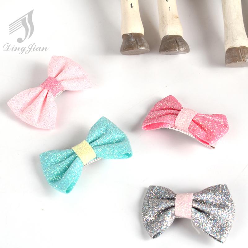 10Pcs/lot 2016 Cute Girls Kids Soft Bow Hair Barrettes Headband Solid Stretch Knot Head Clip Hair Band Accessories A01683(China (Mainland))