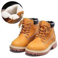 Yeni yüksek kalite hakiki deri erkek kız çizmeler 21-37 sonbahar sarı Martin çizmeler erkek peluş sıcak kış ayakkabı kız çocuklar(China)