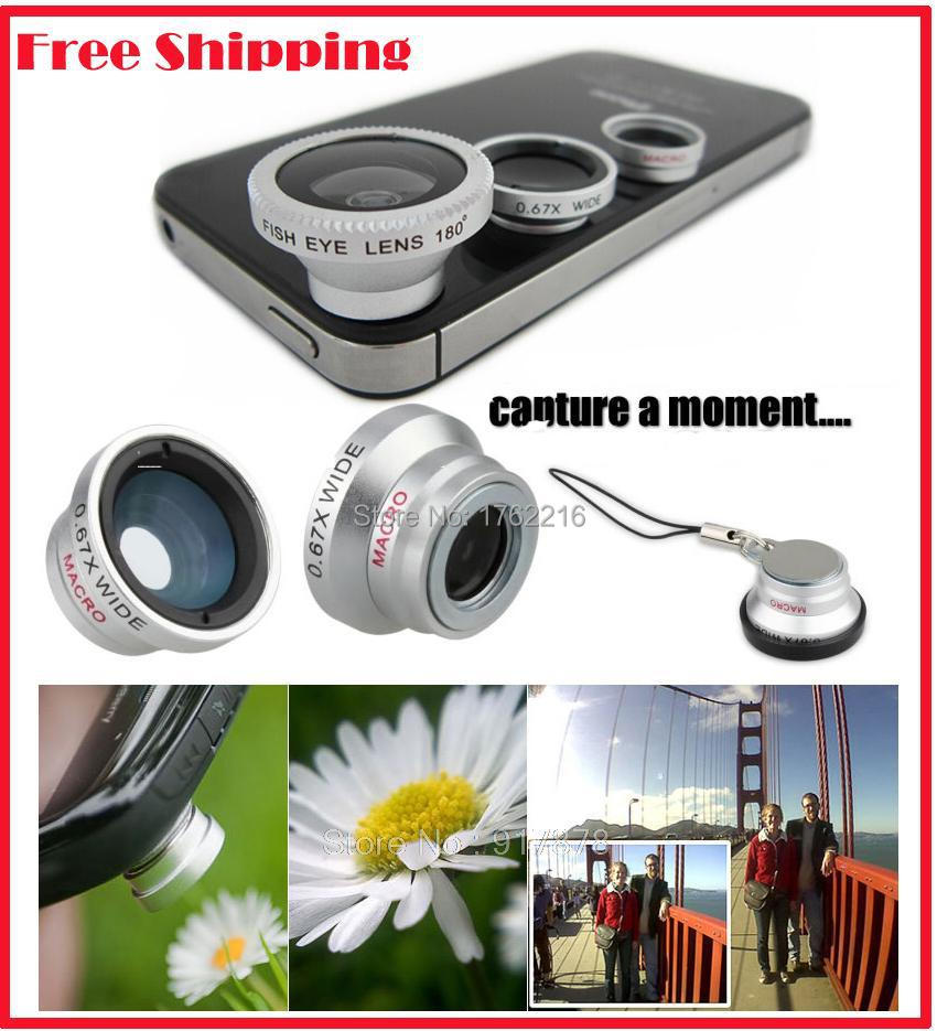 Universal Magnetic 3 in1 Fisheye Fish Eye Lens + Wide Angle + Macro Mobile Phone Lens Camera Lens for iPhone Samsung S4 Note