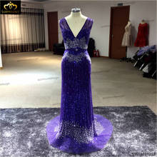 Sexy beading Evening Dresses 2016 Luxury Design Surmount Sequin V-Neck Tulle Purple Long Party Dress Elegant Formal Gowns(China (Mainland))