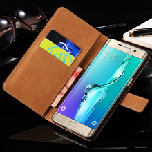 S6edge + Luxury Genuine Leather Wallet Case For Samsung Galaxy S6 edge plus G928 G928F Stand Flip Card Holder Protector Cover