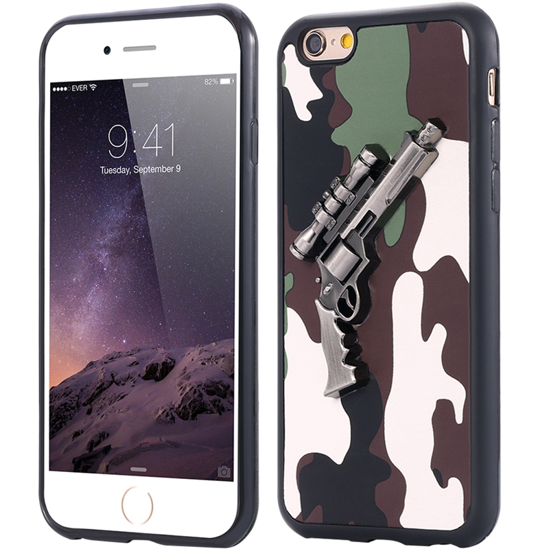 Shell For Apple iPhone6 6S Metal 3D Rifle Gun Soft Dual Layer Case For iPhone 6 6S Cool Flexible Army Camouflage Slim Back Cover(China (Mainland))