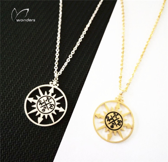 10pcs/lot 2015 New Stainless Steel Minimalist Jewelry Gold Silver Vintage Compass Necklace Pendant for Women Men<br><br>Aliexpress