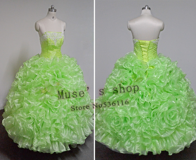 customized dress ball gown Sleeveless organza Lovely romantic real sample green pink blue red wedding Dresses new 2014(China (Mainland))