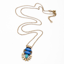 New Simple Resin Pendant Antique Gold Chain Long Necklace Fashion Dress Jewlery for Party