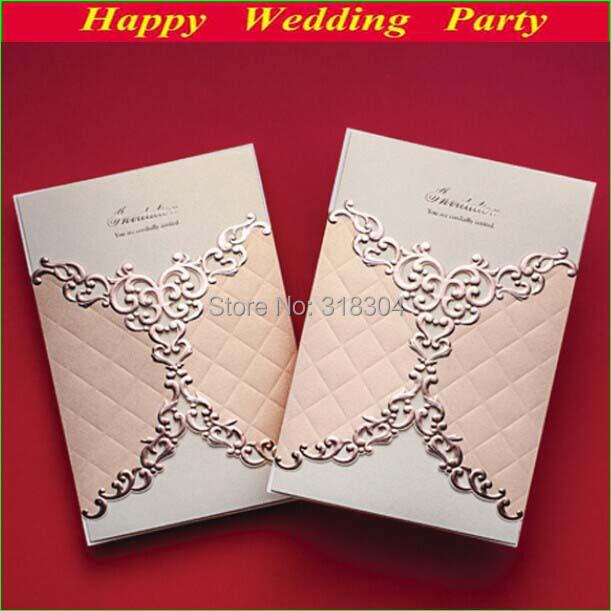 Gorgeous Brand New Wedding Invitations 2014 Elegant Laser Cut Invitation Cards Pink Envelope Seal - Joy Moment store
