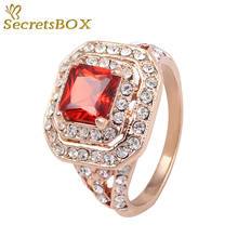 New Plated Rose Gold Austrian Crystal Ruby Rings Fashion For Women Men Best Gift for Anniversary Engagement SecretsBOX1292