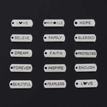 15types Charms faith love believe family 20pcs 21*8mm Tibetan Silver Plated Pendants Antique Jewelry Making DIY Handmade Craft(China (Mainland))