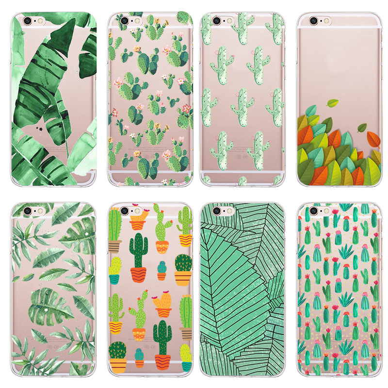 Beautiful Summer Green Plants Case For Apple iPhone 5 5s SE 6 6s Plus Transparent Soft Tpu Back Cover Phone Cases Hot Selling(China (Mainland))