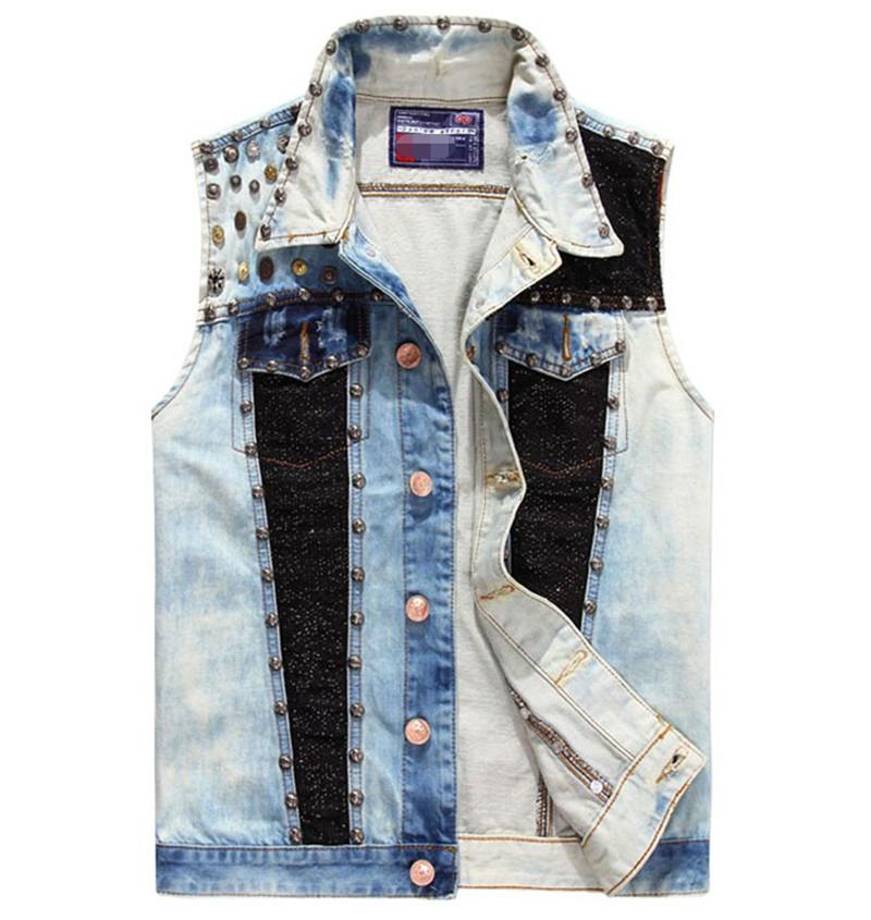 Здесь можно купить  2015 New Arrive High Quality Mens Vest Fashion Mens Sleeveless Denim Jacket Tide Denim Vest Mens Plus Size L-XXL  Одежда и аксессуары