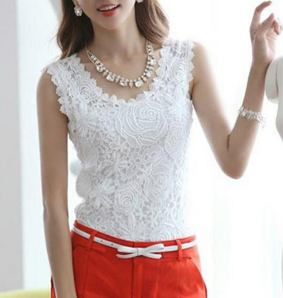 New S-XXL Sheer Blouses Shirts Body Autumn 2015 New Fashion Plus Size Tops Women's Work Wear Lace Ladies Sexy Sleeveless Clothes(China (Mainland))