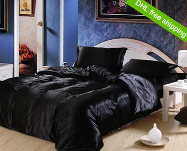luxury satin imitation silk bedding sets black bed set queen king size duvet cover fitted flat sheet bed linen bedspreads(China (Mainland))