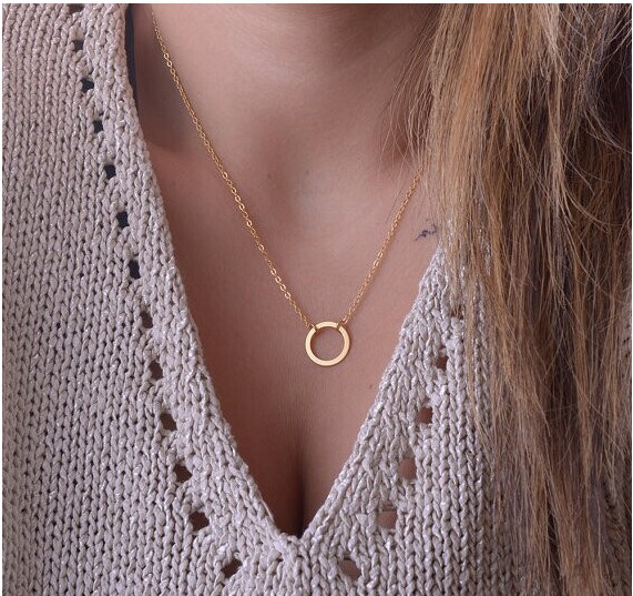 new fashion circle pendant necklace eternity necklace Infinity Golden minimalist jewelry necklace(China (Mainland))