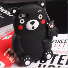 2016 Hot 3D Cute Japan Kumamon Animal Black Bear Coque Fundas for Apple IPhone 5 5S 5G Phone Cases Cover