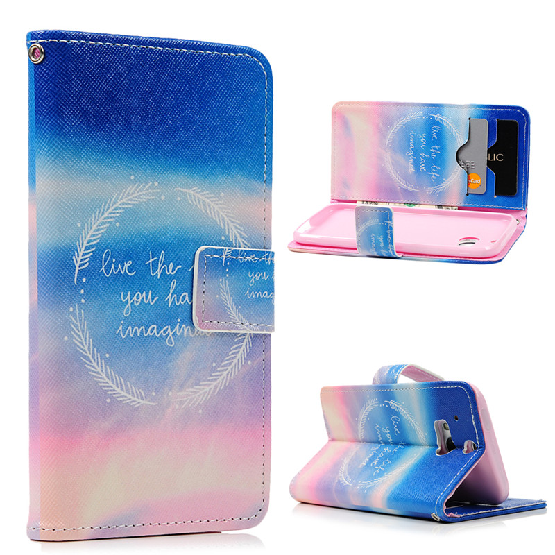 For HTC One M8 Case Cover Cute Flip Stand PU Leather Wallet Case Colorful Sky Forest Wind Chime Phone Bag For HTC M8 Card Slot(China (Mainland))