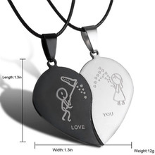 Broken Heart Couple Pendant Necklace Stainless Steel For Lovers Love you Fashion Jewelry Valentine s Day