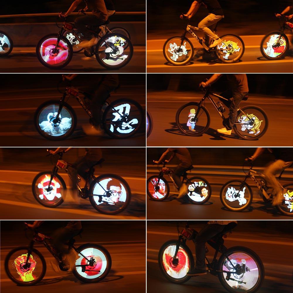 100 Modes 5 GIF Pictures Sensor Bicycle Wheel Light 216 RGB LED Spoke Light Color Changing DIY Bike Bicycle Spokes Light(China (Mainland))