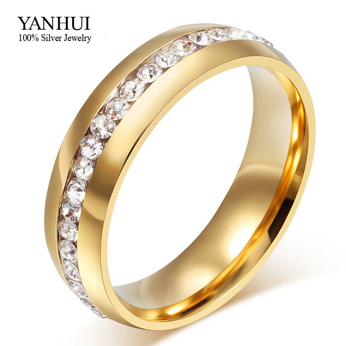Lose Money 95% OFF!!! Never Fade 18K Gold Plated CZ Diamond Wedding Rings For Women 361L Stainless Steel Ring Wholesale JZR042(China (Mainland))