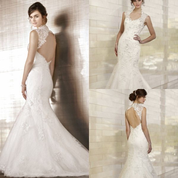 Top Quality Cap Sleeve Lace Appliqued Open Back Mermaid Hijab Wedding Dress(China (Mainland))