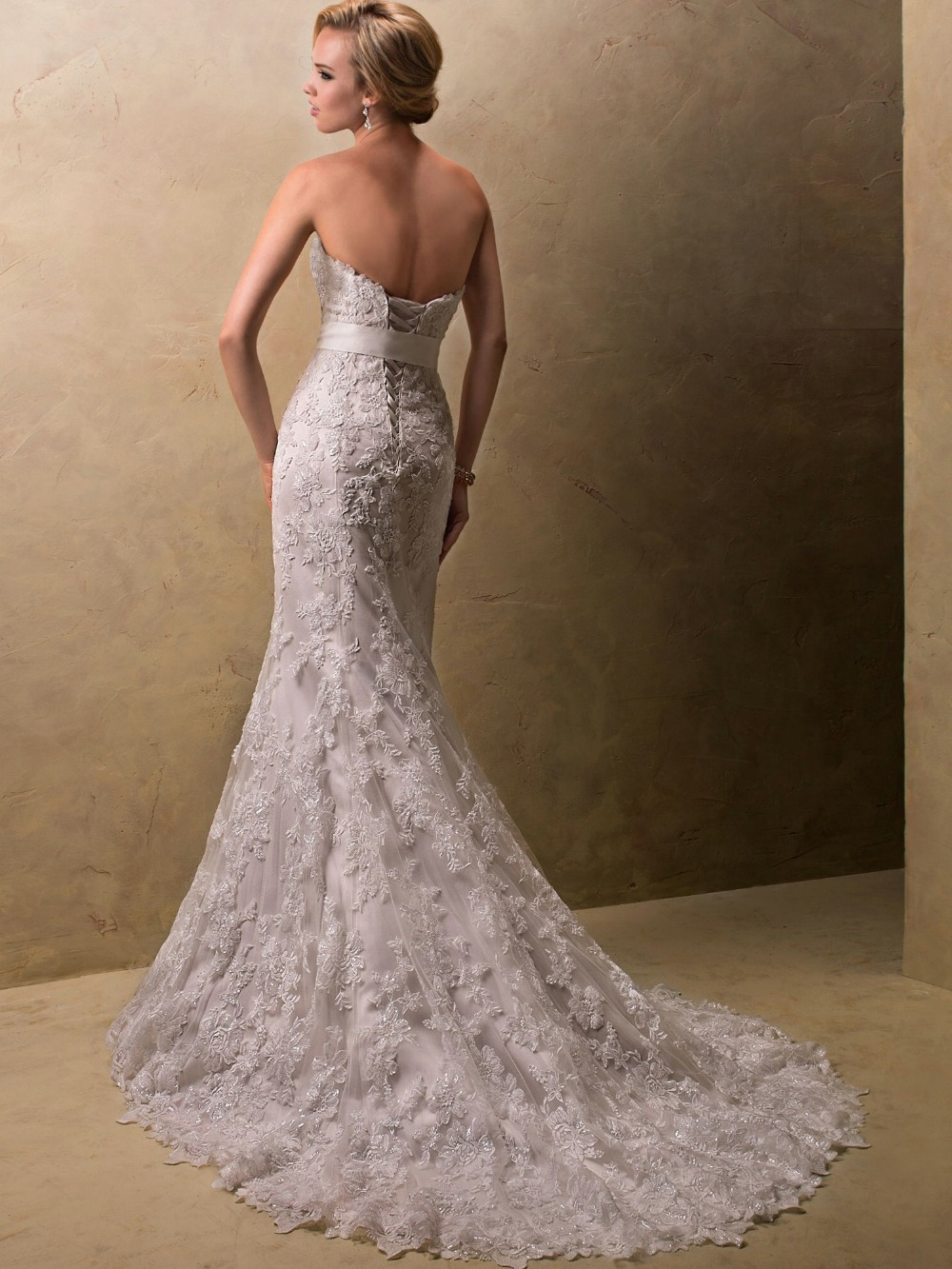 Champagne lace strapless wedding dress for Lace champagne wedding dress