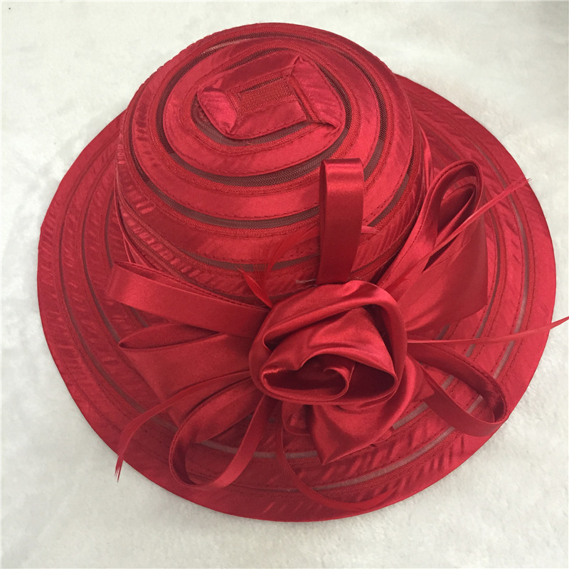 Red white Large brim sun hat for ladies womens floral summer kentucky derby Church Hats For Women Flower hats(China (Mainland))