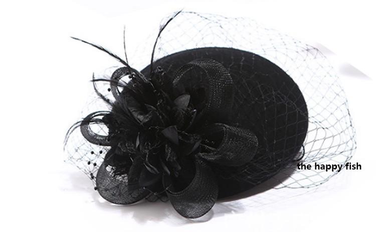 Charming Wool Black Simplicity Women Lady Classic Fascinator Hair Pillbox Hat Floral Felt Cocktail Party Wedding Church Fedora (2)
