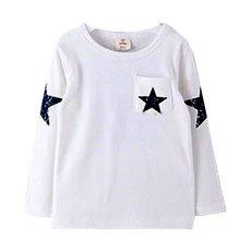 Малыш Мальчик Ребенок Звезды Шаблон С Длинным Рукавом Футболки Рубашки Экипировка Одежда H34(China (Mainland))