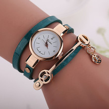 Women Leather Bracelet Watch Gold Case Quartz Watch Relojes Mujer New Style Laides Casual Rhinestone WristWatch