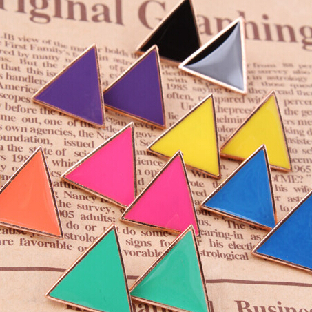 Free Shipping $10 (mix order) New Fashion Vintage Stunning Colorful Candy-colored Earrings Geometric Triangle Jewelry(China (Mainland))