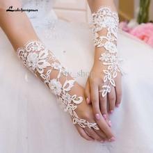 Gants de mariée Custom Made Fabulous dentelle Diamond Flower Glove creux robe de mariée accessoires(China (Mainland))