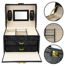 2016 Watch Box Black 3 Layers Leather Watches Jewelry Box Wristwatch Case with Lock Mirror Makeup Case Organizer Storage Box(China (Mainland))